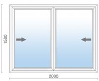 Раздвижное алюминиевое окно 2000х1500