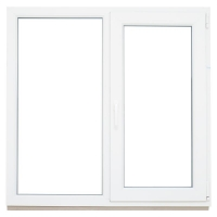 Окно ПВХ двустворчатое (Plafen 5х) 130x130 см глухое/поворотно-откидное правое