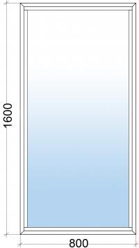 Алюминиевое окно 800х1600