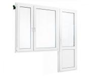 Балконный блок: двухстворчатое окно с балконной дверью с глухой нижней частью 2120х1810