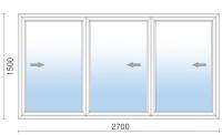 Раздвижное алюминиевое окно 2700х1500