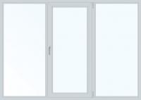 Пластиковое окно трехстворчатое поворотно-откидное правое (KBE) 2000x1400