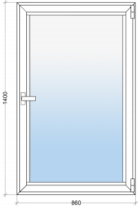 Алюминиевое окно 860х1400