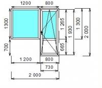 Балконный блок (KBE) 2000x2000 П/О правая