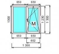 Окно ПВХ двустворчатое (Ortex 5x) 130x130 см глухое/поворотно-откидное правое с москитной сеткой