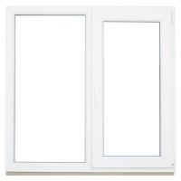 Окно ПВХ двустворчатое (Plafen 5х) 1300x1300 глухое/поворотно-откидное правое
