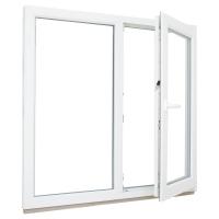 Окно ПВХ двустворчатое (Ortex 5x) 130x130 см глухое/поворотно-откидное правое