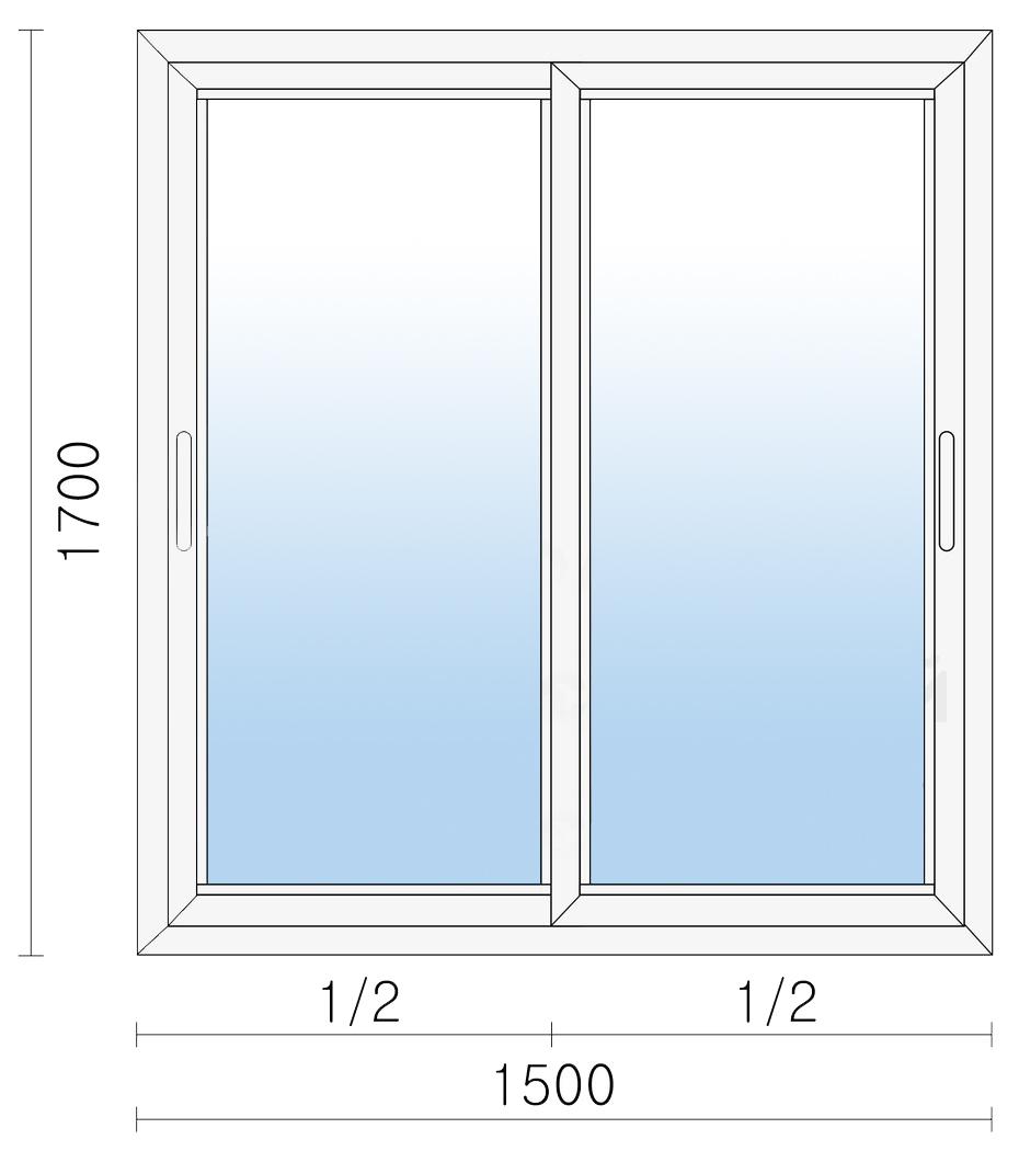 Раздвижное алюминиевое окно 1500х1700