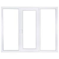Окно ПВХ трехстворчатое (KBE) 1300x2050 глухое/поворотно-откидное правое/глухое с москитной сеткой