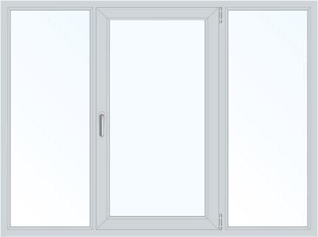 Пластиковое окно трехстворчатое поворотно-откидное правое (KBE) 2050x1450