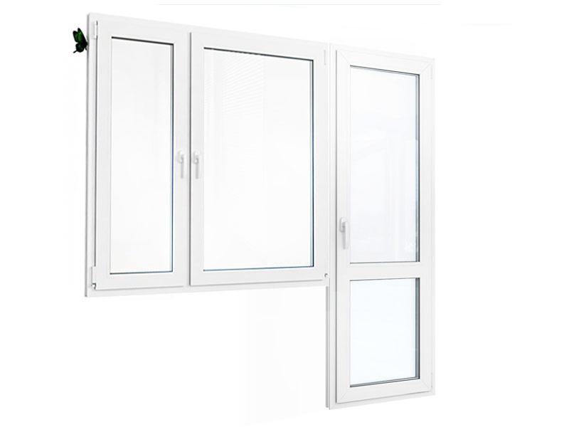 Балконный блок: двухстворчатое окно с балконной дверью с перемычкой 2120х1810