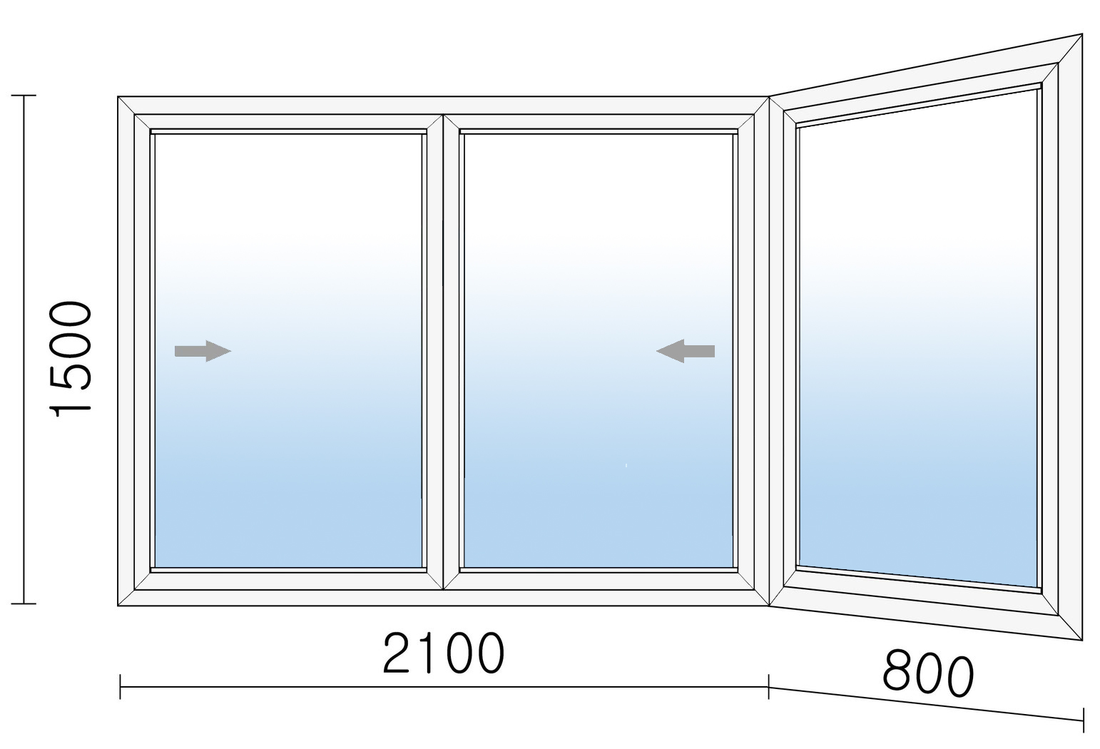 Раздвижное алюминиевое окно 2900х1500