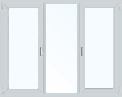 Пластиковое окно трехстворчатое поворотно-откидное правое/левое (Ortex) 1800x1400