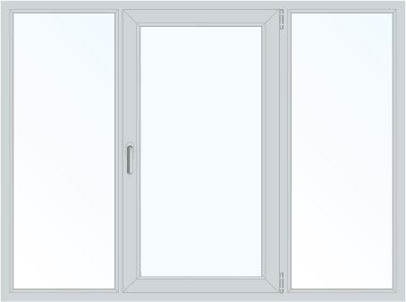 Пластиковое окно трехстворчатое поворотно-откидное правое (Plafen) 2050*1450
