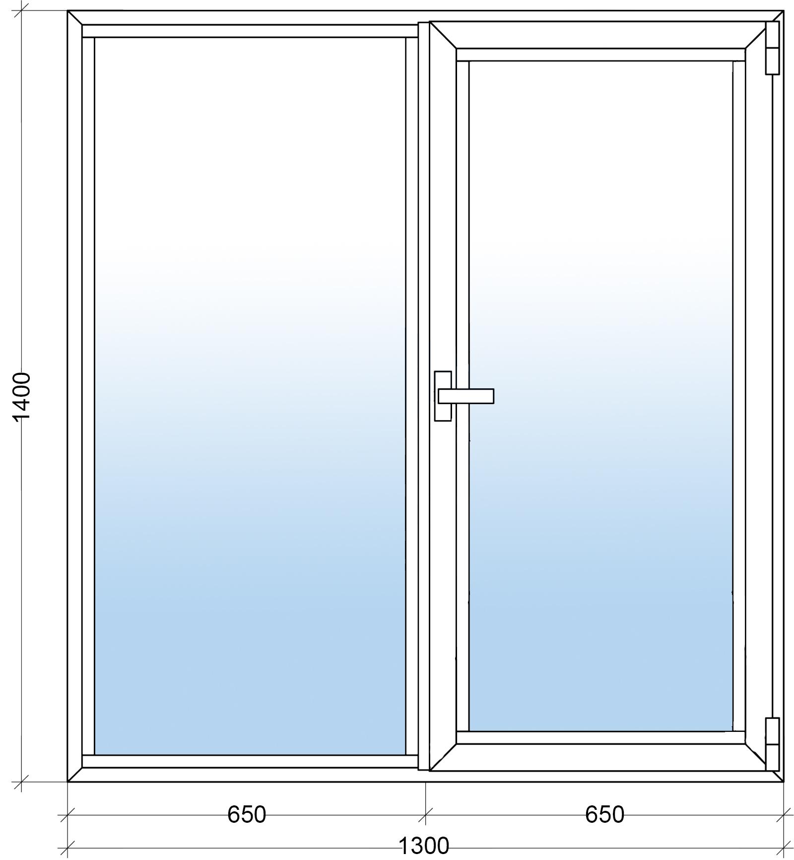 Алюминиевое окно 1300х1400